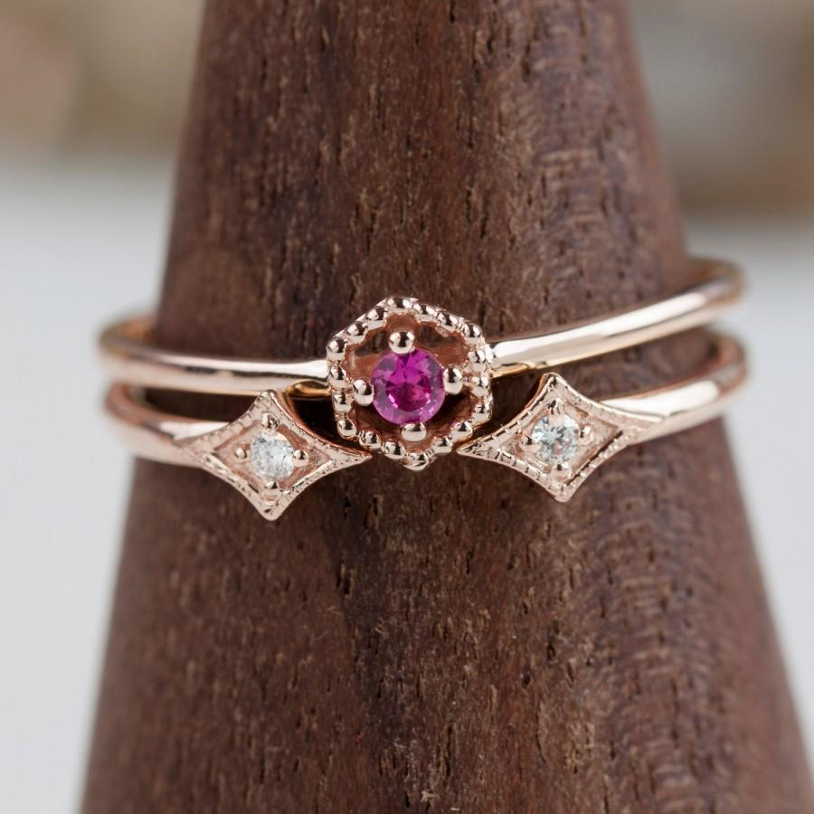 زفاف - Ruby bridal set ring, Hexagon ruby ring and double diamond star ring, 14k rose gold, 14k yellow gold, 14k white gold -Set of 2 engagement