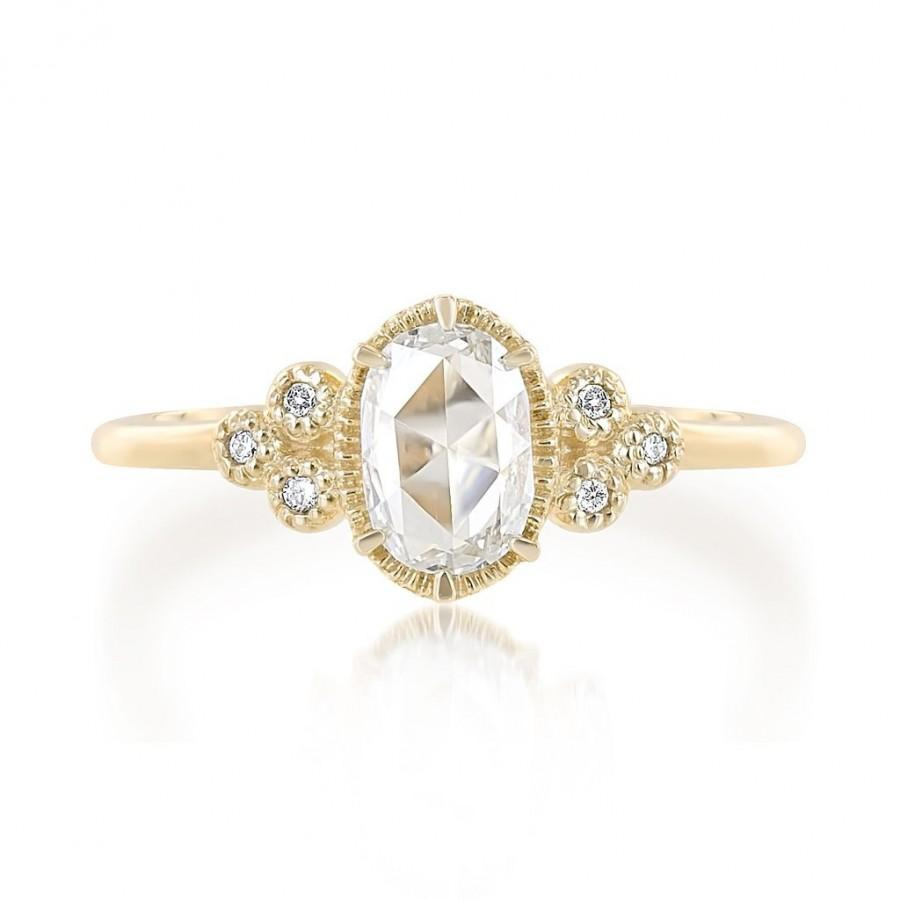 زفاف - Art deco rose cut diamond engagement ring 14k 18k yellow gold, rose gold, white gold or platinum, handmade unique engagement ring, ado-r103