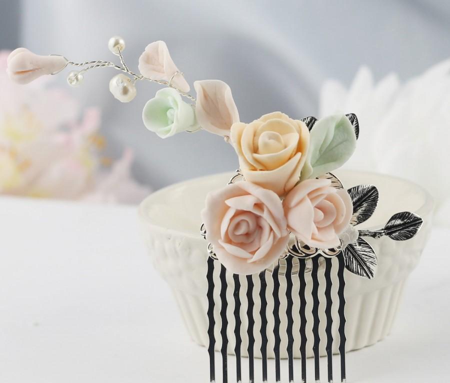 Mariage - Blush Pink Mint Peach Bridal Comb, Pale Pink Soft Mint Pearl Comb, Bridal Gifts Comb, Fall Ivory Pink Mint Wedding