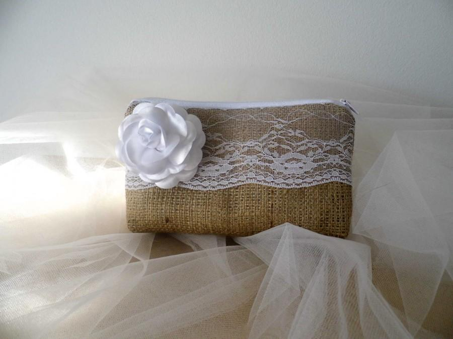 Mariage - Bridesmaid Clutch, Burlap And Lace, Rustic Wedding Purse, Bridal Shower Gift, Shabby Chic Clutch, Bridesmaids Gift, Wedding Accessories