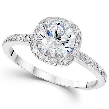 زفاف - 1.25CT Diamond Engagement Ring Cushion Halo Vintage Ring 14 KT White Gold Round Brilliant Cut Vintage Antique