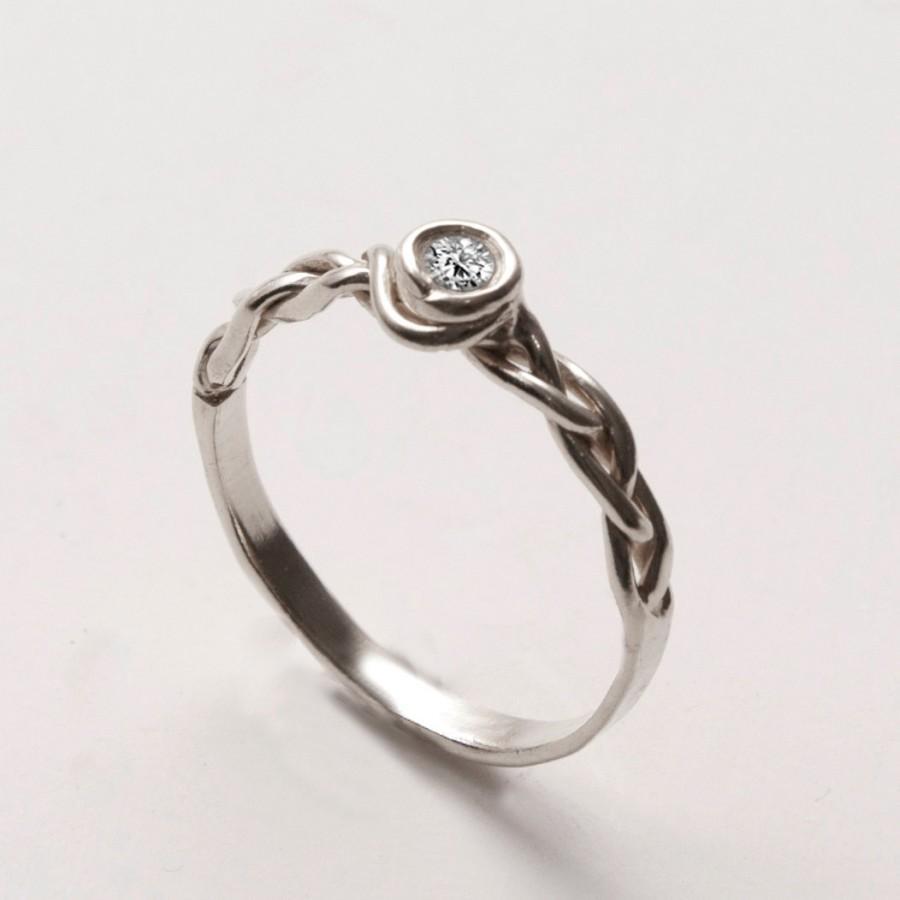 زفاف - Braided Engagement Ring No.3 - 14K White Gold and Diamond engagement, unisex ring, engagement ring, wedding band, celtic ring