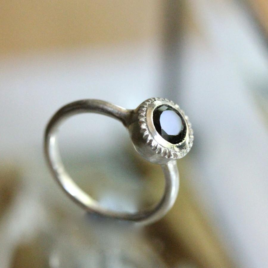 زفاف - Black Spinel Sterling Silver Ring, Gemstone RIng, No Nickel, Eco Friendly, Engagement Ring, Milgrain Inspire - Made To Order