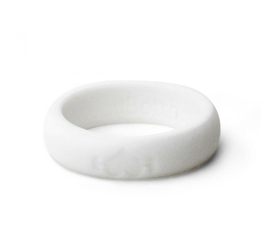 زفاف - White Silicone Wedding Ring for women - Perfect for Active Ladies, Athletes, Crossfit, working out, WOD - Safe, rubber rings - Wedding Band