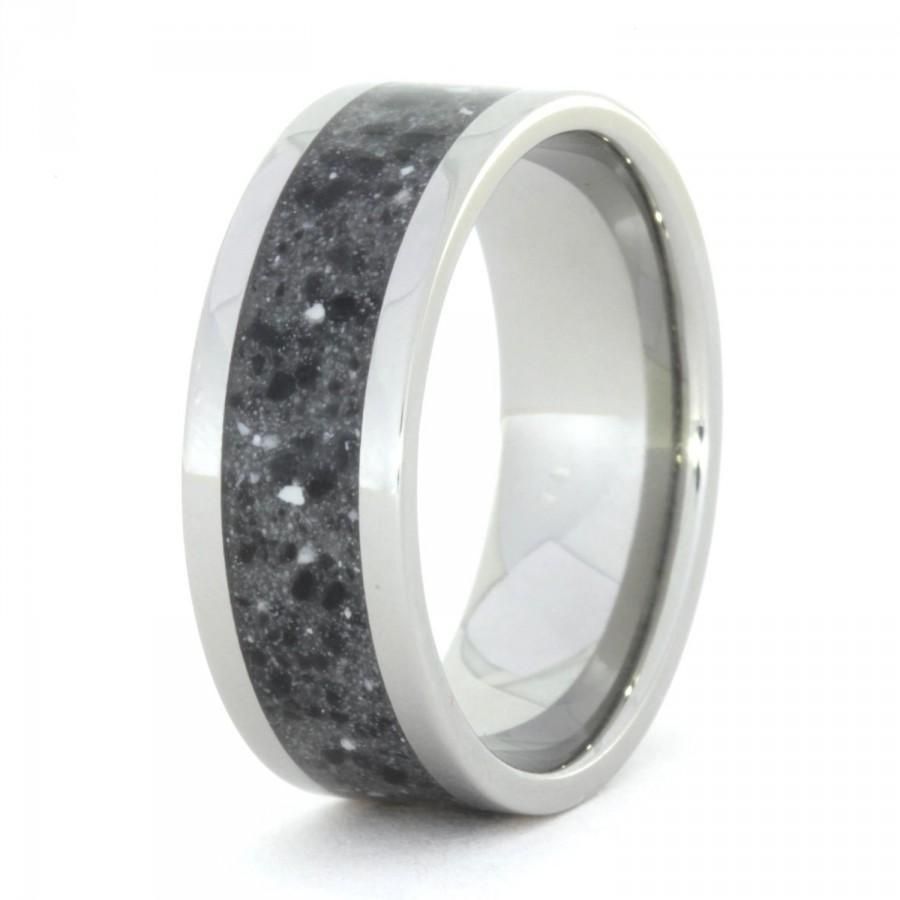 Wedding - Contemporary Black Concrete Ring, Titanium Ring for Woman's or Men's Wedding Band