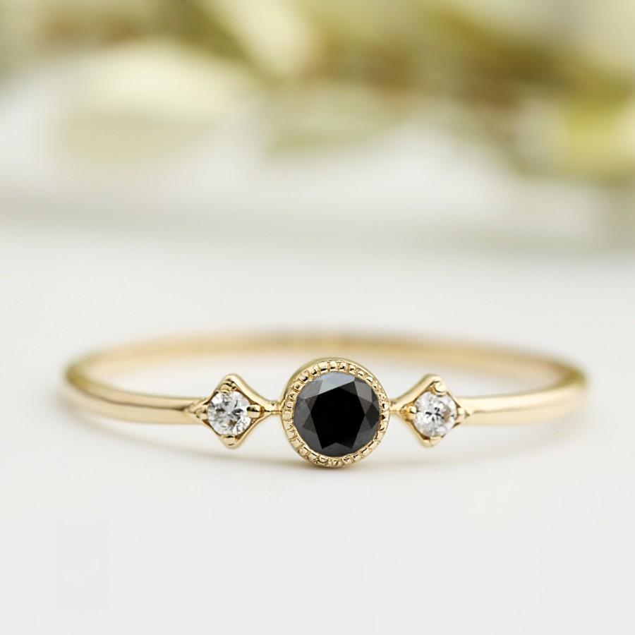 Black Diamond Ring, 3mm, Unique Black Diamond Engagement Ring,conflict Free  Diamond, Three Stone Ring, 14k 18k Gold, Platinum, Star103bdia