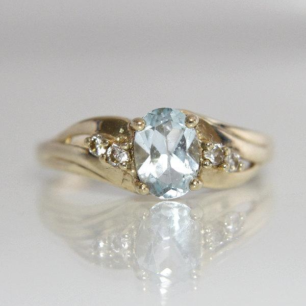 زفاف - Blue Topaz Engagement Ring Vintage 10k Yellow Gold Ladies Size 7 Gemstone Bridal Wedding Jewelry