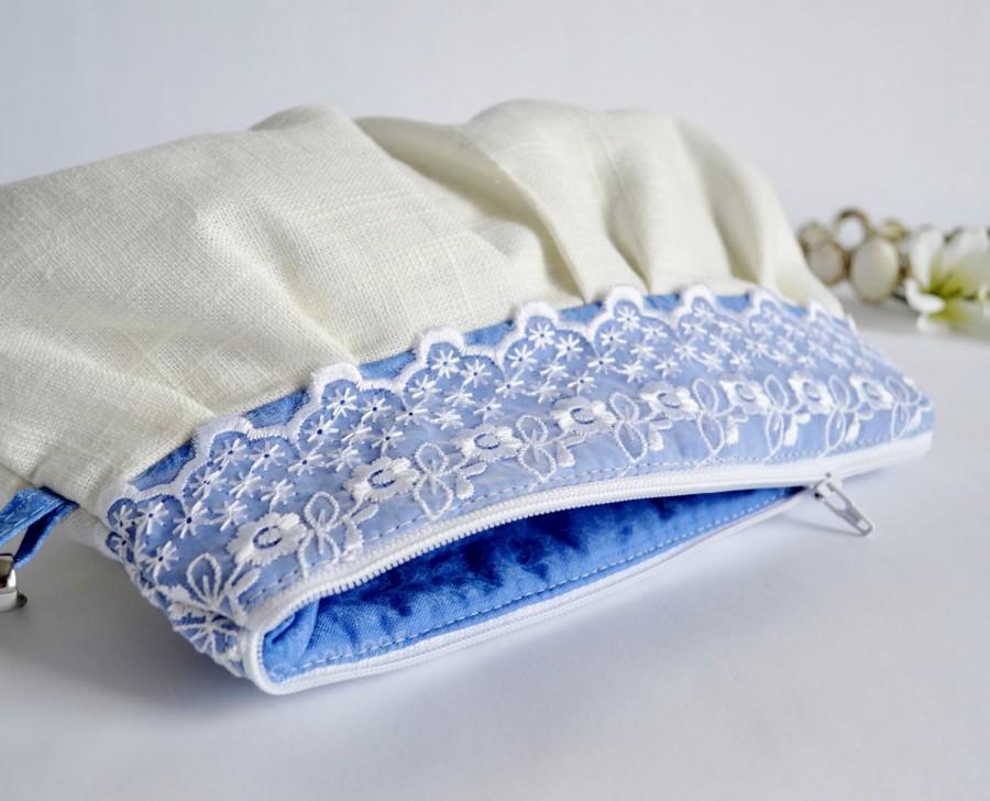 Mariage - Pleated Wristlet Pouch Clutch Lace Trim Ivory Blue Floral Linen Cotton