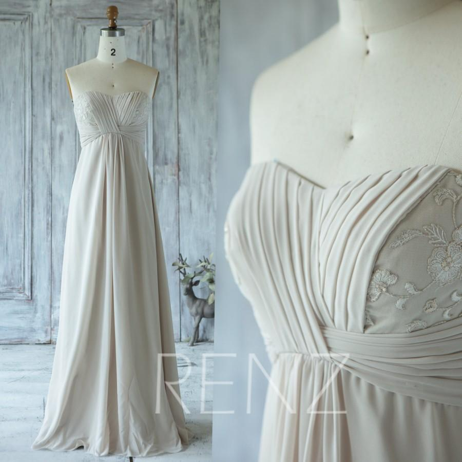 2016 Cream/Beige Bridesmaid Dress With Lace, Strapless Weding Dress ...