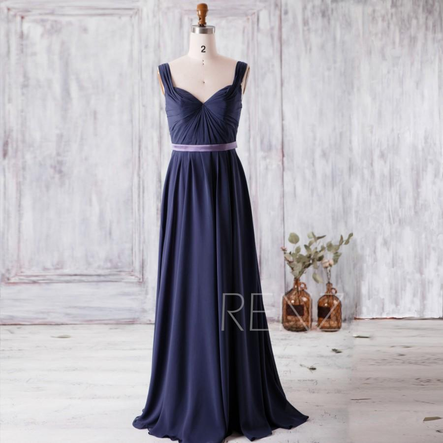 2016 Slate Blue Bridesmaid Dress Double Straps Long Prom Dress