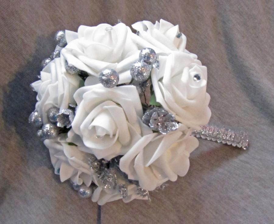 Hochzeit - Winter Wonderland Wedding Bouquet White Realistic Roses and Silver Accents Pinecones Berries Bride or Bridesmaid