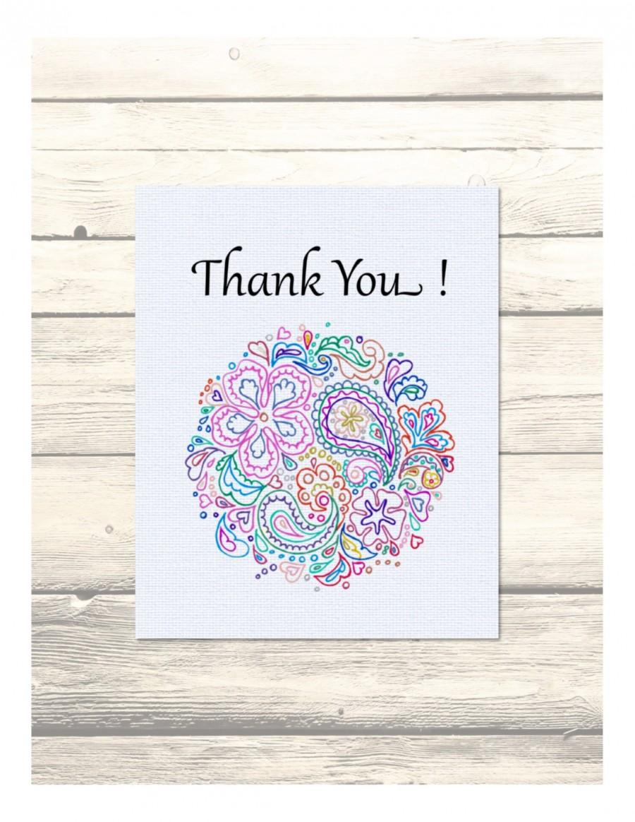 Wedding - Indian Paisley Design Wedding Thank You Cards Customizable - Printable Digital Download