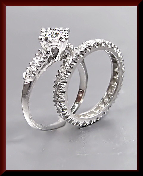 زفاف - Anitque Vintage 1950's Platinum Diamond Engagement Ring and Band Set