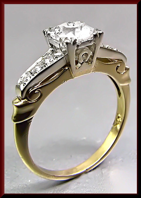 زفاف - Antique Vintage 1950's 14K Yellow and White Gold Diamond Engagement Ring