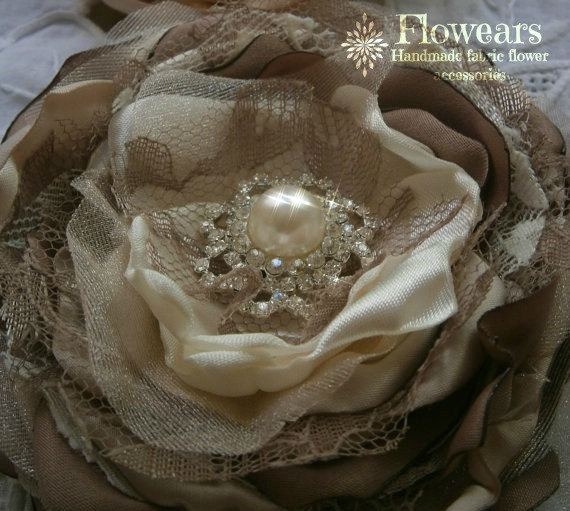 Mariage - Large fabric flower in ivory, champagne and brown, Wedding accessories, bridal hair flower, Hair accessory, Sash flower