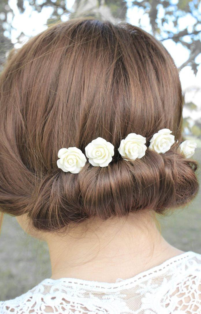 Ivory Rose Bobby Pins Set Of Five Clips Wedding Bridal Hair Slides Cream White Fl Accessories Flower Garden