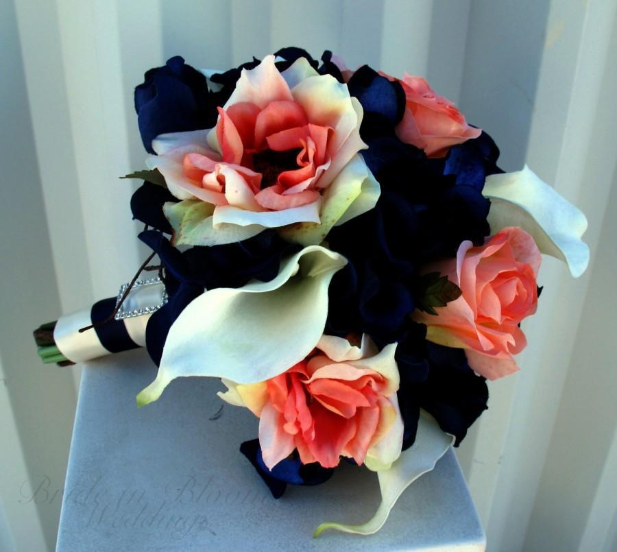 Hochzeit - Bridesmaid Bouquet coral navy white calla lily rose Silk Wedding flowers
