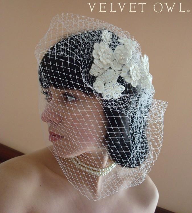 زفاف - Lace birdcage veil, bridal veil, full birdcage veil, chin birdcage veil, Alencon lace veil, lace headpiece veil, detachable veil, veil sale,