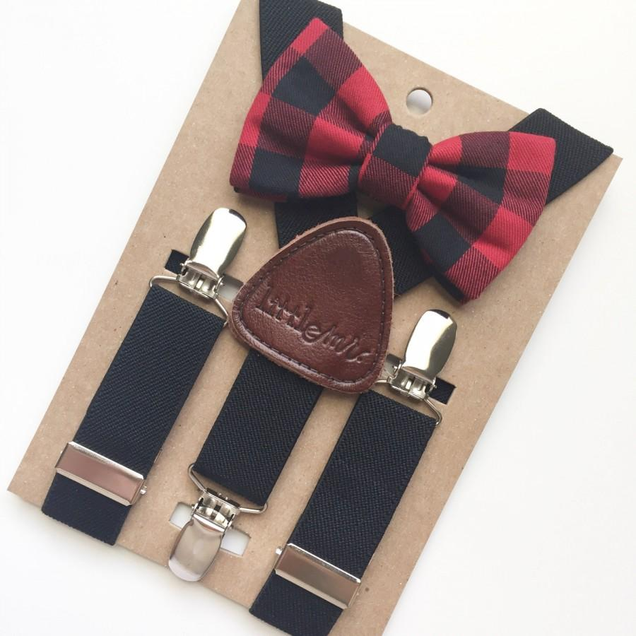 Mariage - Baby Bow Tie and Suspenders, Toddler Bow Tie and Suspenders, Buffalo Plaid Bow Tie Black Suspenders