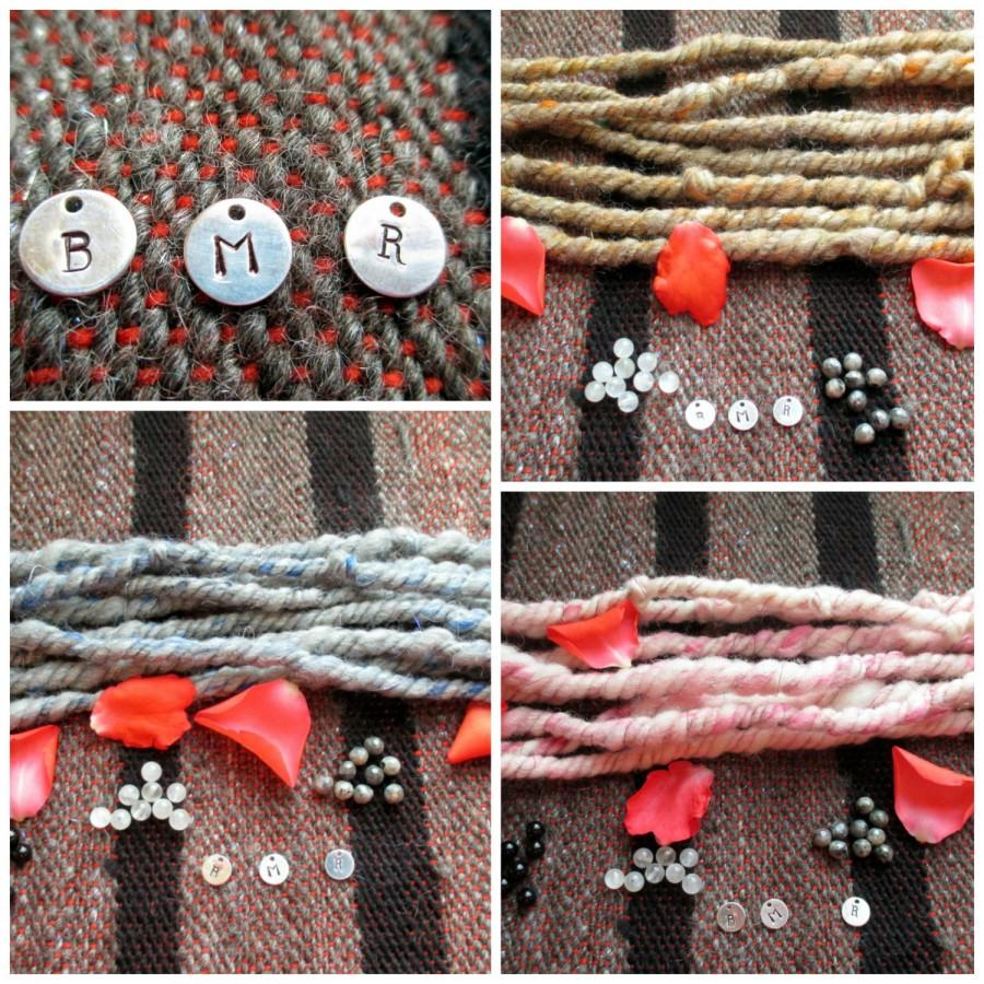 Mariage - Bespoke Handspun Ritual Cord/Handfasting Cord/Ceremonial Cord/Handspun wool with gemstone beads and hand stamped sterling silver charms