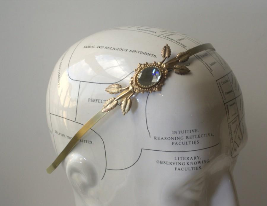 Mariage - Brass bridal headband crystal jewel victorian vintage style leaves romantic bronze gem rhinestone