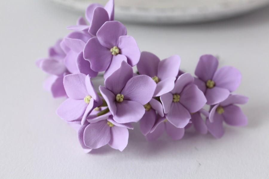 Hochzeit - Hair bobby pin polymer clay flowers Set of 6 Light lilac  hydrangea - 3 with 2 flowers and 3 with 4 flowers