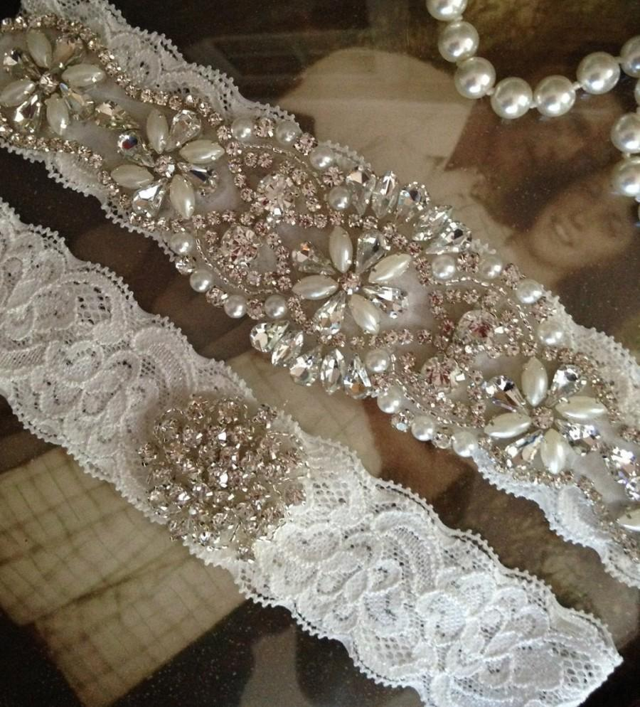 Mariage - Wedding Garter-Garter-Garters-Rhinestone Garter-Blue-Something Blue-Ivory-Lace-garter belt-lace-bridal garter-accessories-pearl-vintage