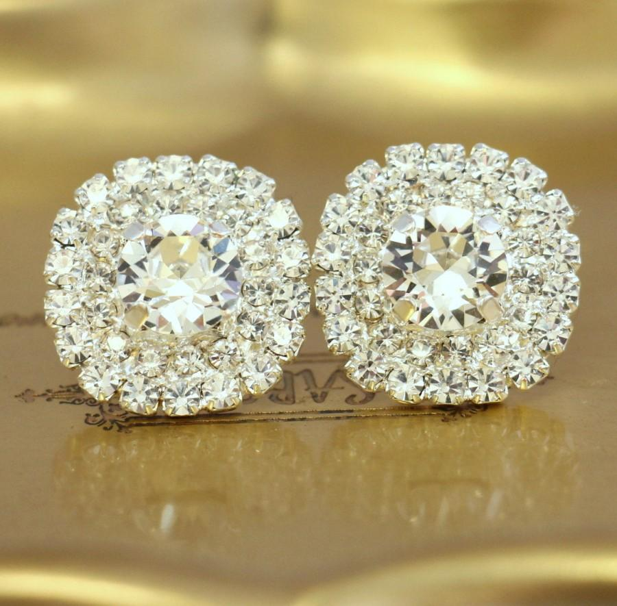 56ab362e3 Bridal Crystal Stud Earrings,Bridal Swarovski Studs,Swarovski Clear Crystal  Silver Stud,White Crystal Stud Earrings,Bridesmaids Gifts