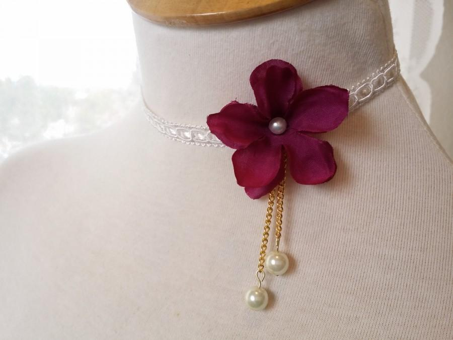 Mariage - Marsala flower necklace Deep red lace choker Asymmetrical Burgundy Flower necklace wedding Jewelry Ivory cream Collar bridesmaid gift