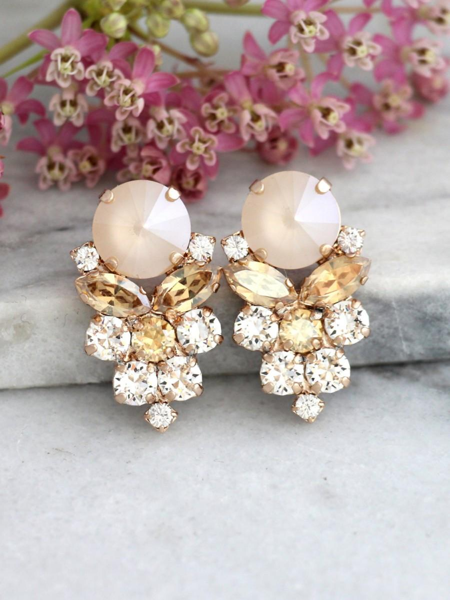 Mariage - champagne Earrings,Bridal Swarovski Earrings, Bridal Ivory Cream Earrings, Gift For Her, Bridal Rose Gold Cluster Earrings,Ivory Nude Studs