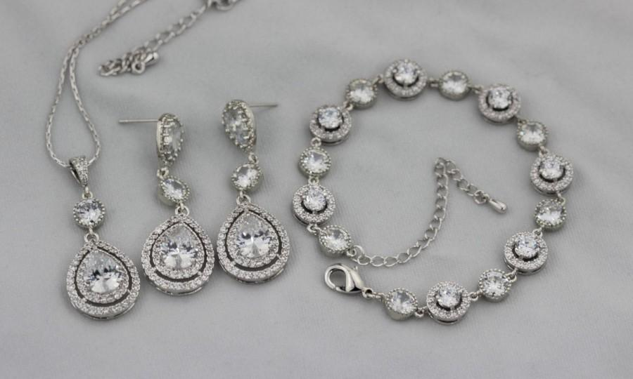 Mariage - bridal jewelry set earring necklace and bracelet set wedding jewelry set bridal earring