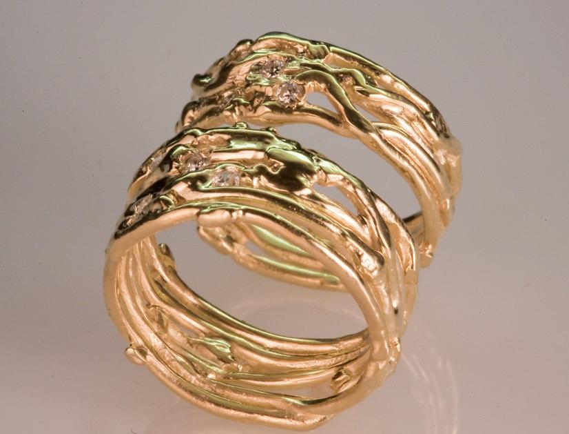 زفاف - Recycled Gold Wedding Band Set - Women's and Men's Wedding Band