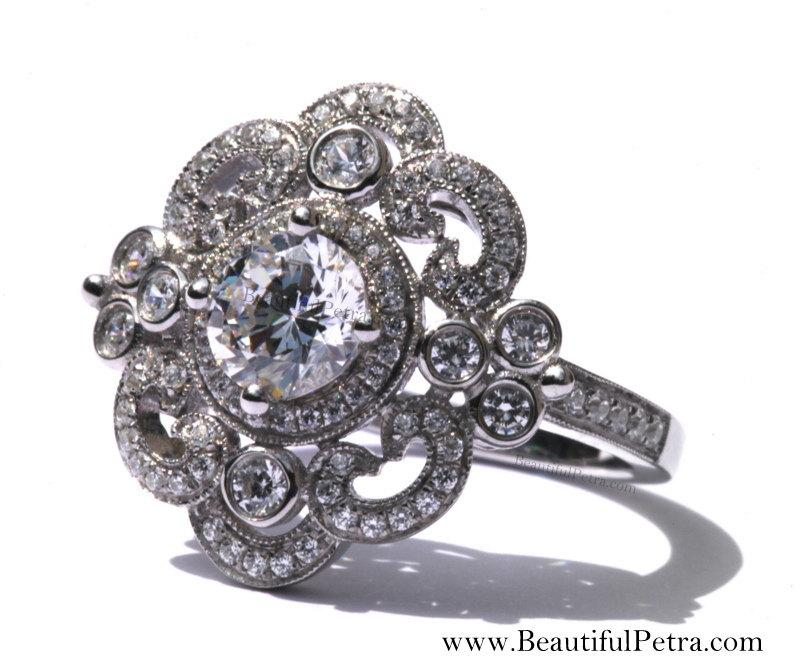 زفاف - DUCHESS - Platinum Art Deco setting - Diamond Engagement Ring or Right Hand ring SEMI-MOUNT- Weddings- Luxury- Brides - BP0011