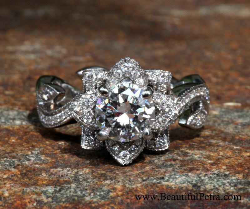 زفاف - Custom listing - BLOOMING Work Of Art - Milgrain Flower Rose Lotus Diamond Engagement Ring - Semi Mount - Setting - fL07- Patented design