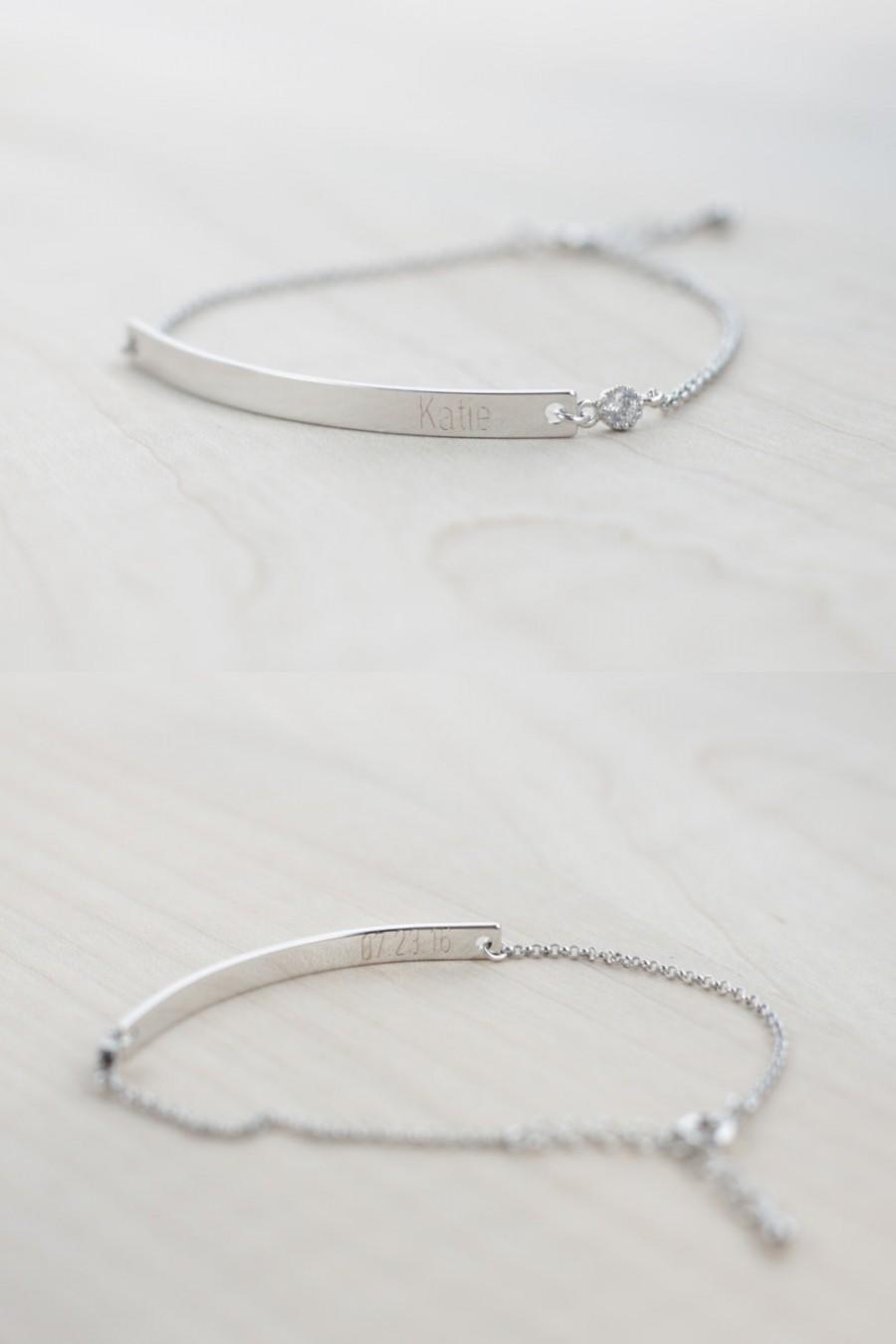 زفاف - Bridesmaid Jewelry - Will you be my bridesmaid? - Bridesmaid Proposal (Silver Bar Bracelet with CZ)