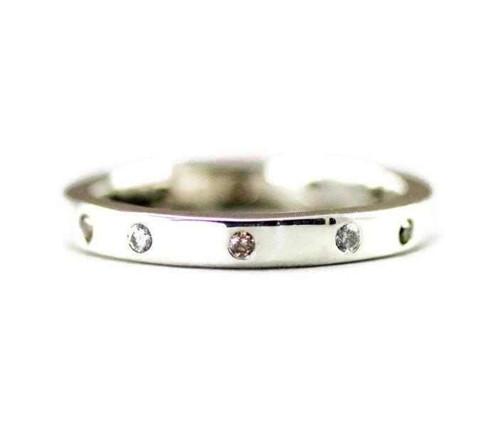 زفاف - Diamond Eternity Ring - Brown and White Diamond Band  - Classic Sterling Wedding Ring
