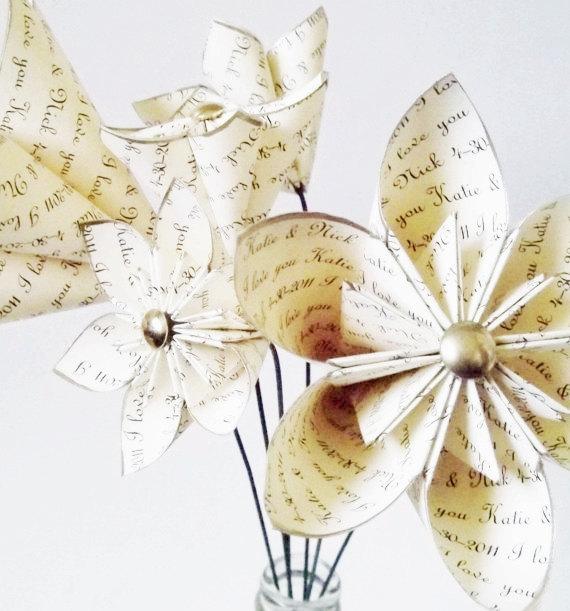 Hochzeit - Stemmed Personalized Anniversary set of 6- handmade, custom, made to order, gift, wedding, bouquet