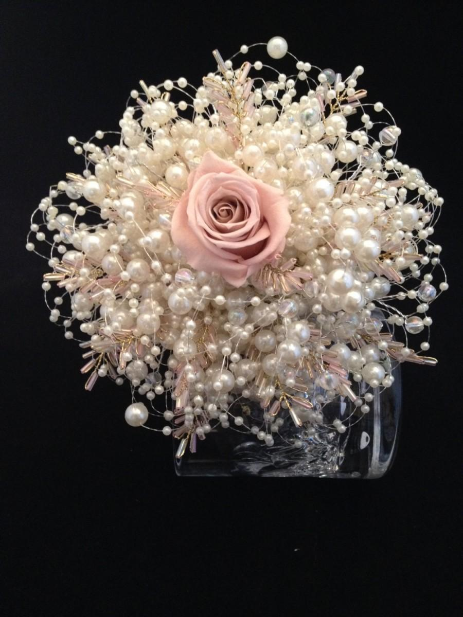Hochzeit - Dusky pink and ivory preserved rose bridesmaids bouquet with ivory bubble pearls and dusky pink seed bead leaves .