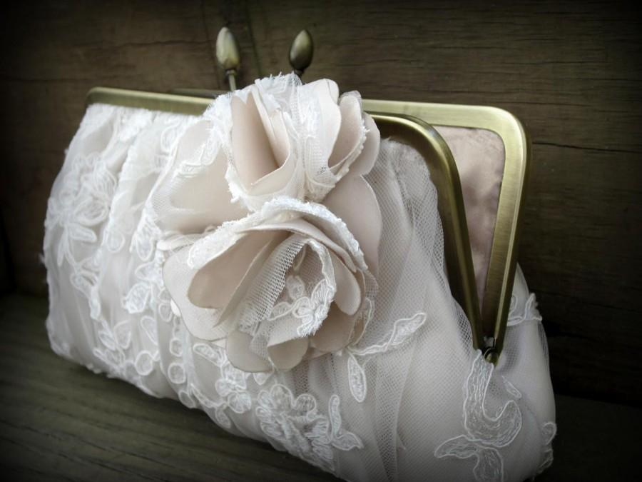 Hochzeit - Blush Bridal Clutch, Ivory Wedding Clutch, Lace Clutch, White Bridal Clutch, Blush Purse {Couture Lace Gathered Pleat with Blossom}