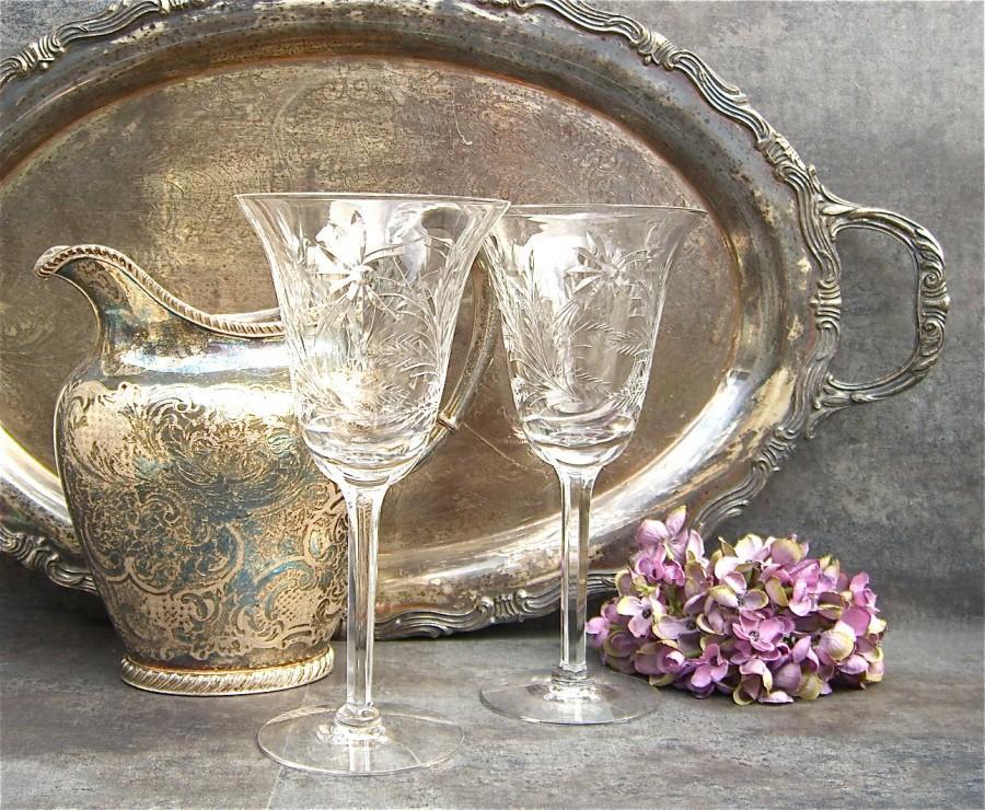Hochzeit - Vintage Cut Crystal Goblets, Wedding Toast, Tiffin Ecstasy, Flowers Floral, Wine Water Bar Barware, Dinner Party, Elegant Table, Fine Dining