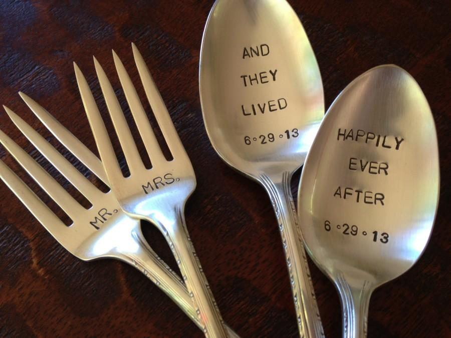 Свадьба - Happily Ever After   Wedding Forks and Spoons Stamped Vintage Silverplate Set