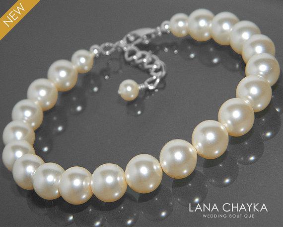 Hochzeit - Ivory Pearl Wedding Bracelet Swarovski Pearl One Strand Bracelet Bridal Pearl Bracelet Wedding Ivory Pearl Jewelry Bridal Bridesmaid Jewelry
