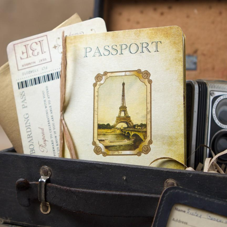 Свадьба - Vintage Passport Wedding Invitation (Paris, Europe) - Design Fee