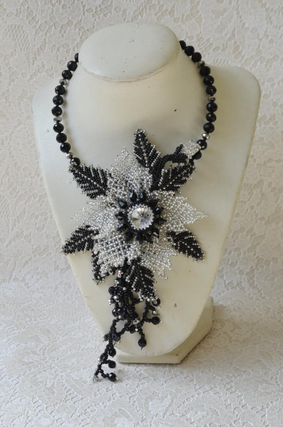Mariage - Black and Silver Jewelry Statement Flower Choker Transformer, Beaded Choker and Christmas Star Pendant Brooch, Seed Bead Holiday Necklace