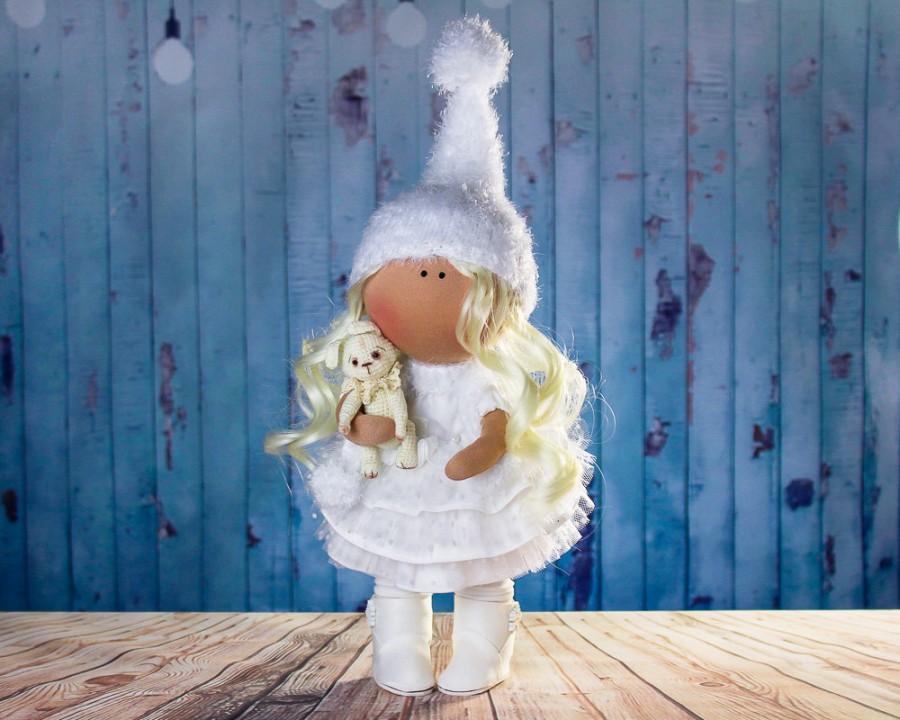 Свадьба - Doll Boni. Big doll. Tilda doll. Textile doll. Soft toy. Сollection Honey doll. Сloth doll. Interior doll. Winter doll. Christmas doll