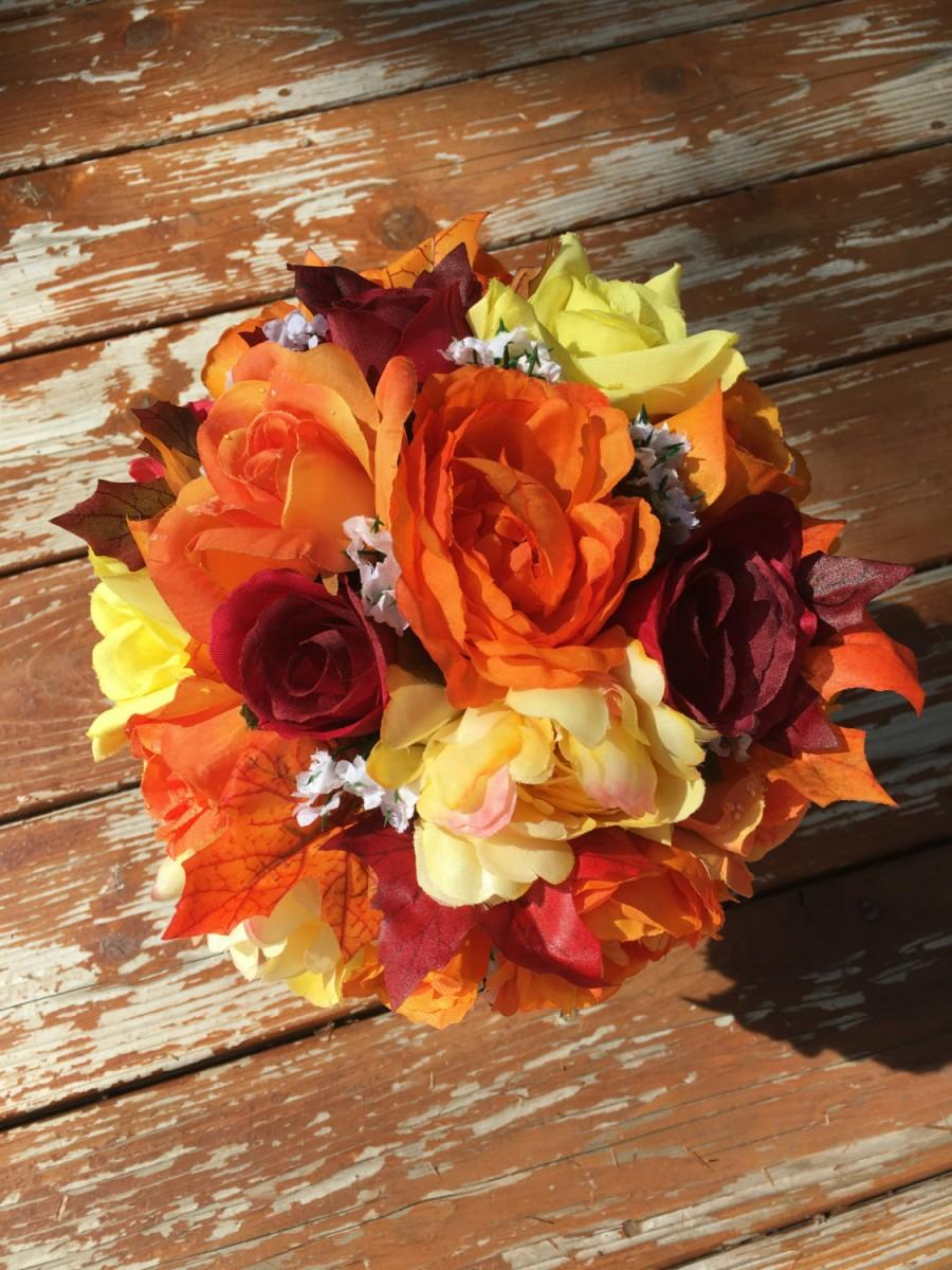 Fall Bouquet Orange Yellow Burgundy Rose And Peony Bridal Bouquet For Weddings Or Dances 2603448 Weddbook