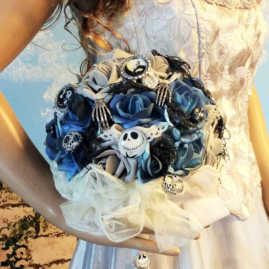 nightmare before christmas wedding bouquetbridal bouquetboutonniere jack skellington tim burton bluegrayblack halloween wedding bouquet