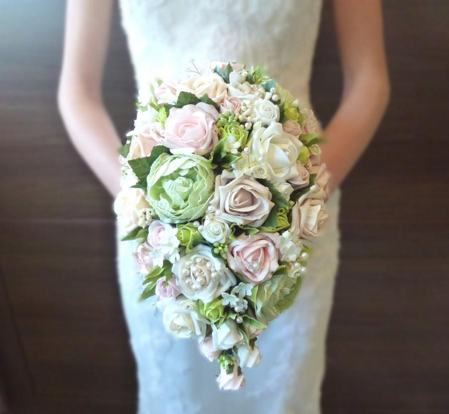 Свадьба - Bespoke Vintage Pastel pink and Green rose and peony teardrop wedding bridal bouquet country style