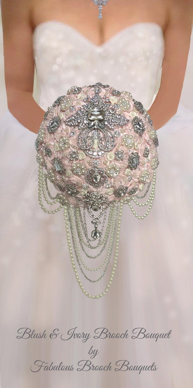 "Свадьба - Blush Brooch Bouquet, Blush Bouquet, Blush Bouquets, Blush Brooch Bouquets, Custom Blush Bouquet, 10""  Ready to Ship"
