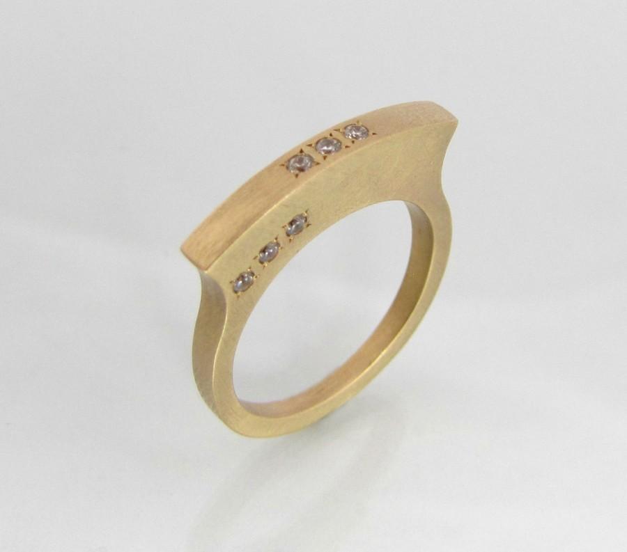زفاف - Engagement band, diamond engagement ring, yellow gold ring, gold band engagement ring, rose gold diamond ring, unique engagement ring